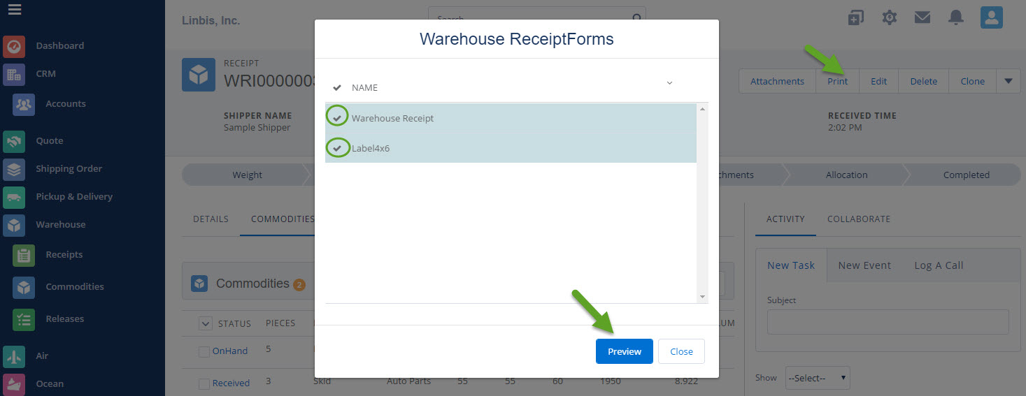 How To Create A Warehouse Receipt On Linbis Logistics Software